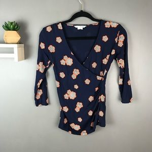 Boden floral wrap shirt 3/4 sleeve size 4P